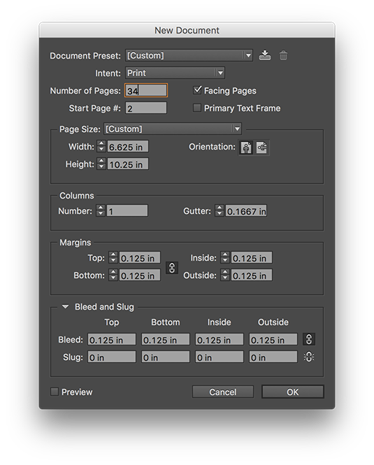 Adobe InDesign Book Print File Setup New Document